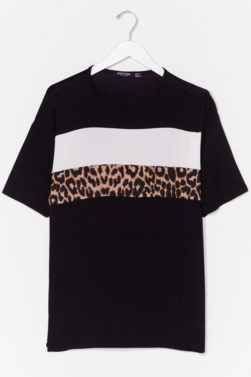 Black Plus Size Leopard Print Colorblock T-Shirt
