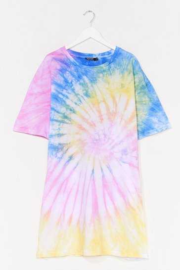 Yellow Plus Size Spiral Tie Dye T-Shirt Dress