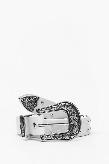 White Plus Studded Western Belt