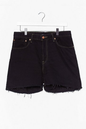Black Luck of the Raw Denim Mom Shorts