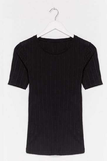 Black Scoop Us in Ribbed Fitted Tee