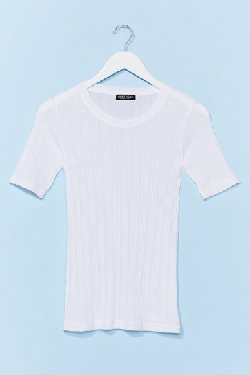 White Scoop Us in Ribbed Fitted Tee