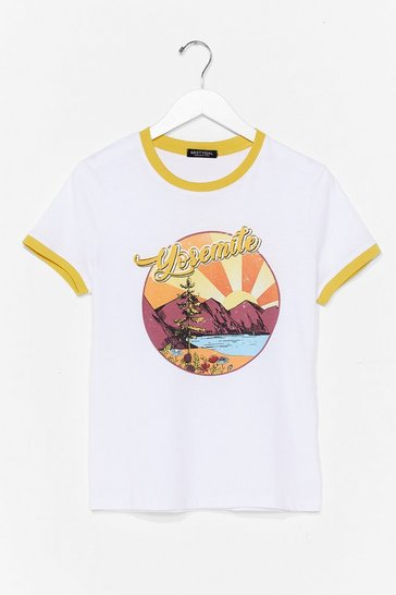 White Yosemite National Park Ringer Tee