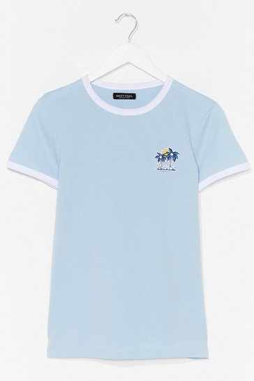 Blue Stay Palm Embroidered Graphic Ringer Tee