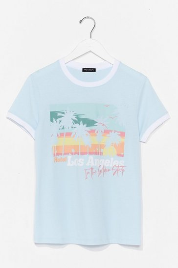 Blue Los Angeles Ringer T-Shirt