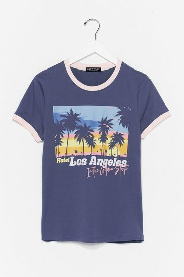 Navy L.A Baby Ringer Tee
