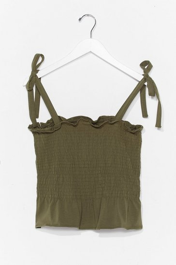 Khaki Shirred Does Tie Cami Top