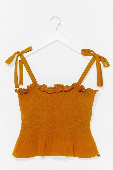 Mustard Shirred Does Tie Cami Top