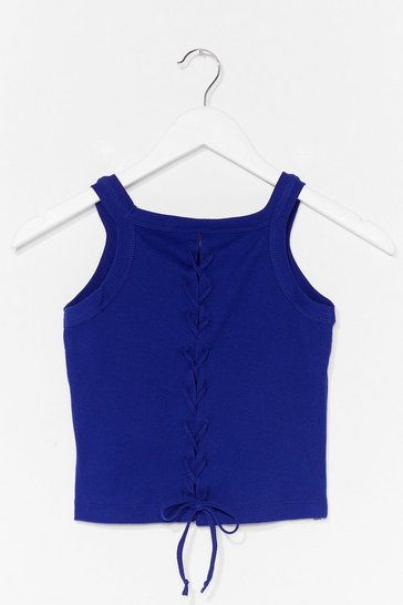 Blue Lace-Up to It Ribbed Crop Top