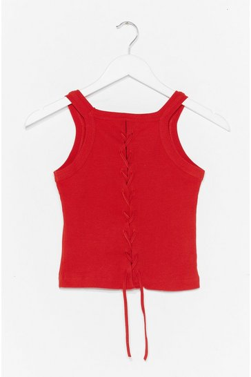 Red Lace-Up to It Ribbed Crop Top