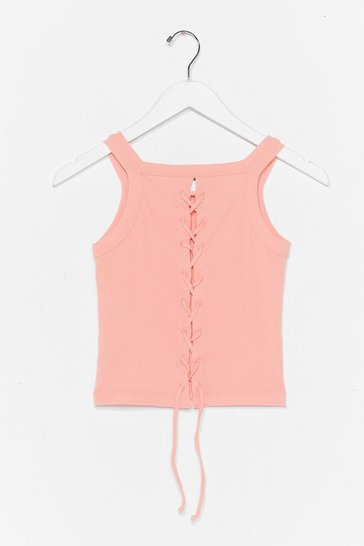 Coral Lace-Up to It Ribbed Crop Top