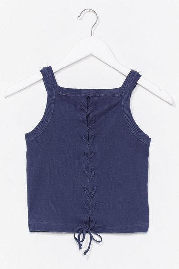 Indigo Lace-Up to It Ribbed Crop Top