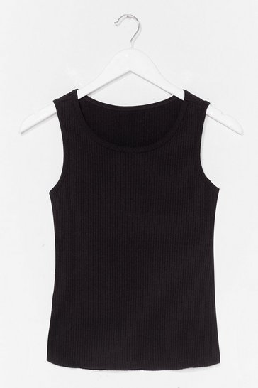 Black Close to Me Ribbed Tank Top