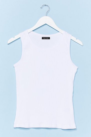 White Close to Me Ribbed Tank Top