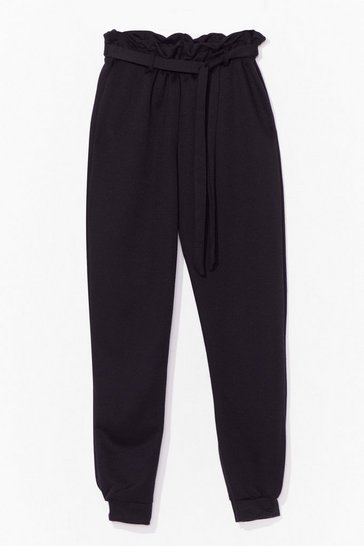 Black It's in the Paperbag Belted High-Waisted Joggers