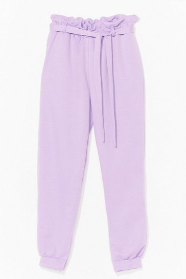 Lilac It's in the Paperbag Belted High-Waisted Joggers