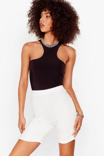 Ivory Welcome to Jersey Longline Biker Shorts