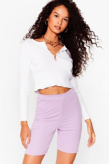 Lilac Welcome to Jersey Longline Biker Shorts