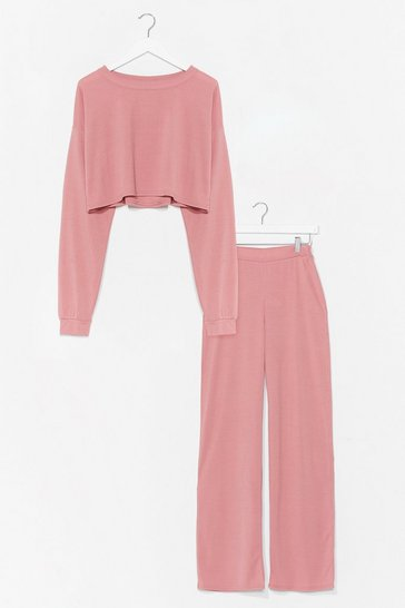 Dusty rose Have a Nice Day Sweatshirt and Pants Set