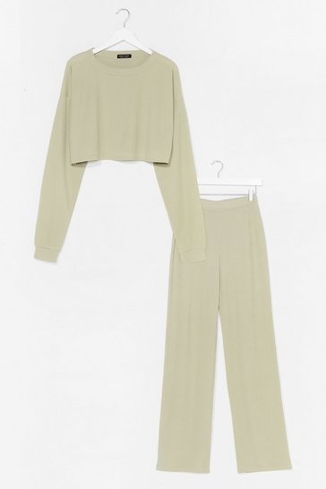 Sage Have a Nice Day Sweatshirt and Pants Set