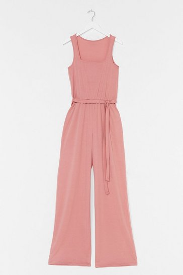 Dusty rose Tie It On Belted Relaxed Jumpsuit