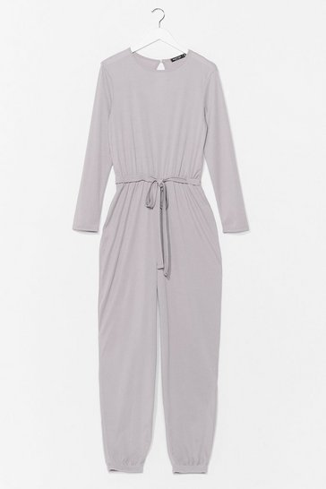 Grey The Look of Love Belted Ribbed Jumpsuit