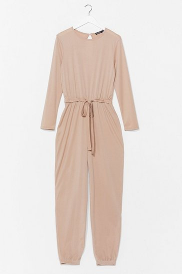 Stone The Look of Love Belted Ribbed Jumpsuit