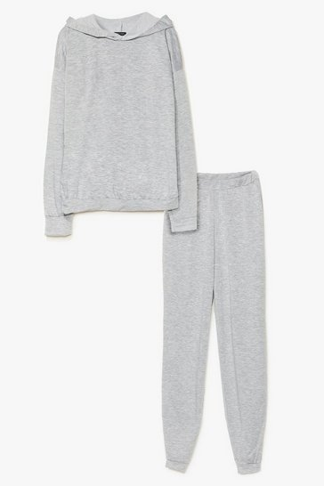 Grey marl Grocery Store Run Cropped Hoodie and Jogger Set