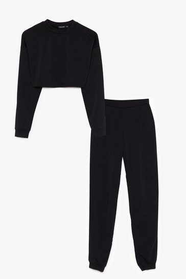 Black Never Crew Much Sweatshirt and Jogger Set