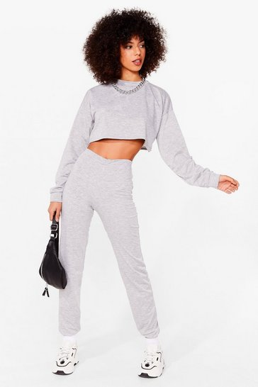 Grey marl Never Crew Much Sweatshirt and Jogger Set