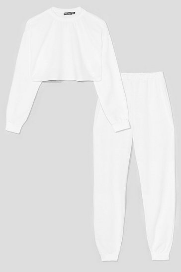 White Never Crew Much Sweatshirt and Jogger Set