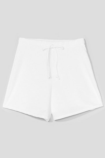 White Coffee Run High-Waisted Relaxed Shorts