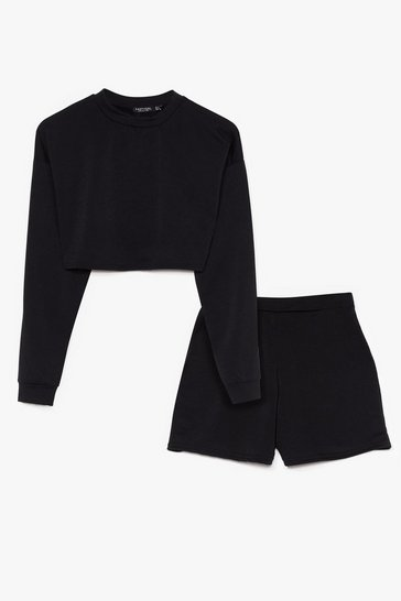 Black Sorry Had to Run Sweatshirt and Shorts Set