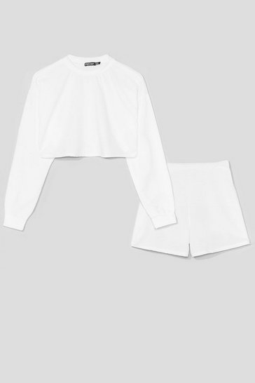 White Sorry Had to Run Sweatshirt and Shorts Set