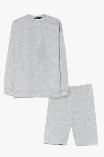 Grey marl Cut It Short Sweatshirt and Biker Short Set