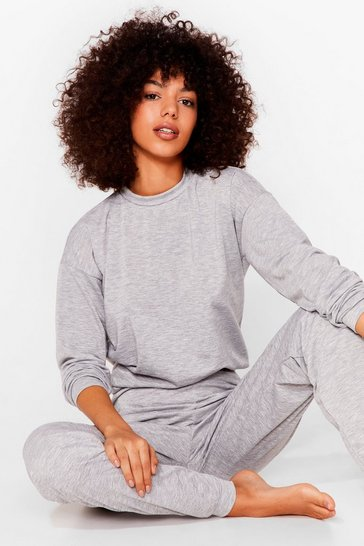 Grey marl Jersey Sweatshirt and Sweatpants Loungewear Set