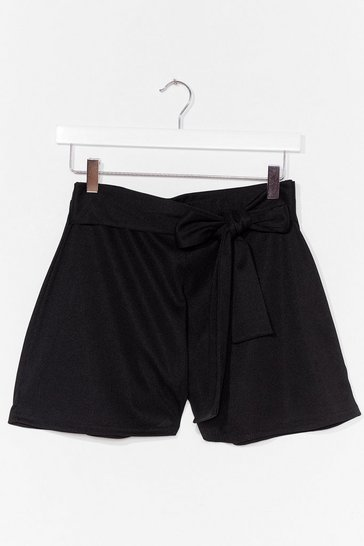 Black Closing in Tie Front Shorts