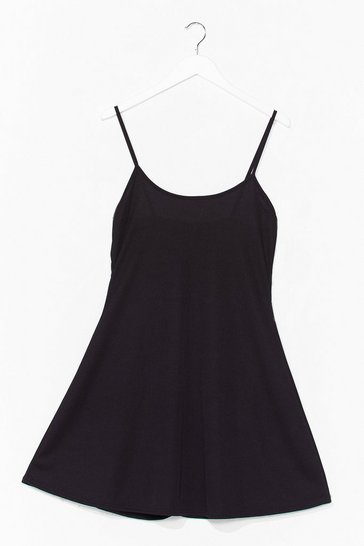 Black Swing It Ribbed Mini Dress