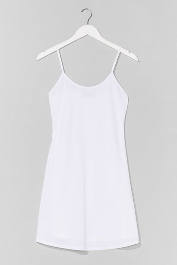 White Swing It Ribbed Mini Dress
