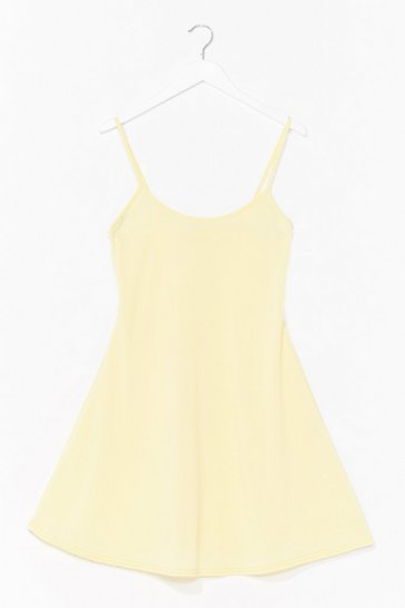 Yellow Swing It Ribbed Mini Dress