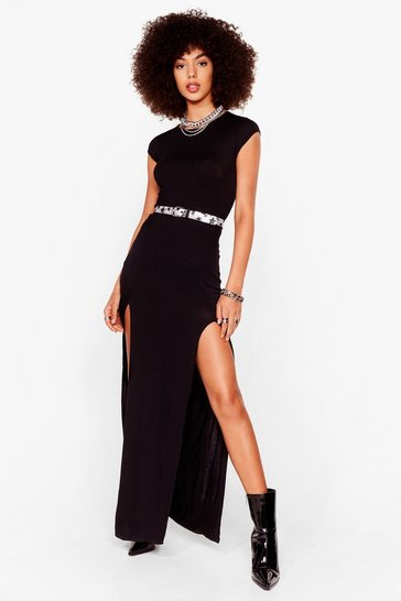 Robe t-shirt longue fendue Allong de l'avant, Black