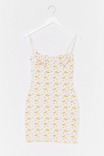 White Floral Cupped Cami Mini Dress