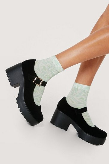 Black Faux Suede Chunky Mary Jane Shoes