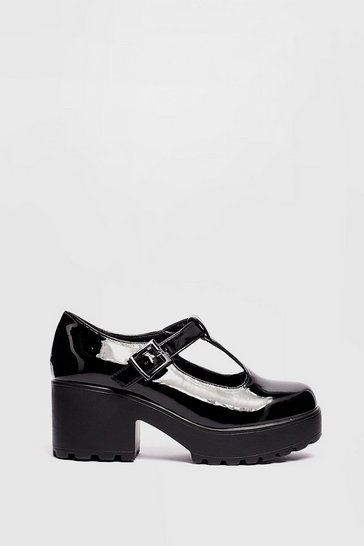 Black Sweet Mary Jane Patent Chunky T-Bar Shoes