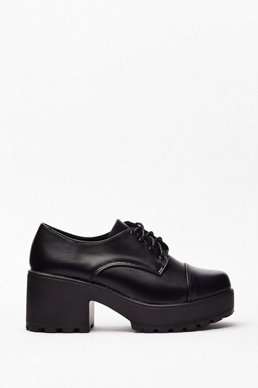 Black Block Party Faux Leather Lace-Up Shoes