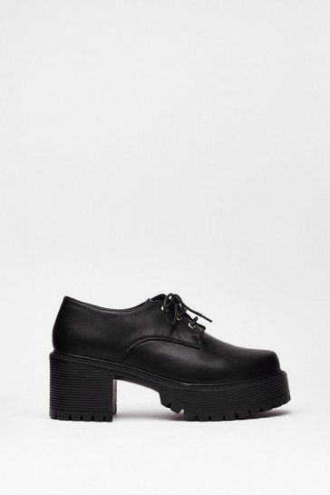 Black Girl Gone Brogue Block Heel Shoes