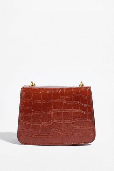 Tan WANT Croc's Going On Faux Leather Crossbody Bag