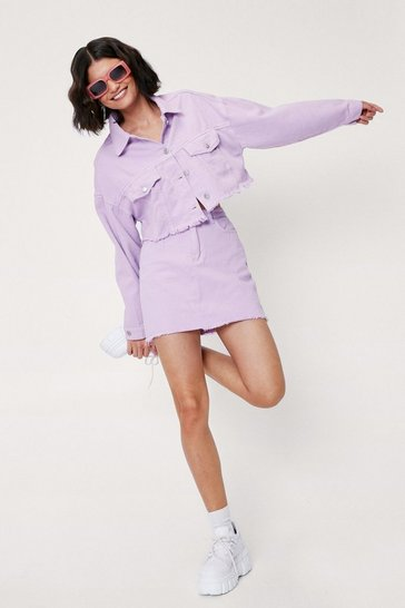Cropped Denim Jacket, Lilac