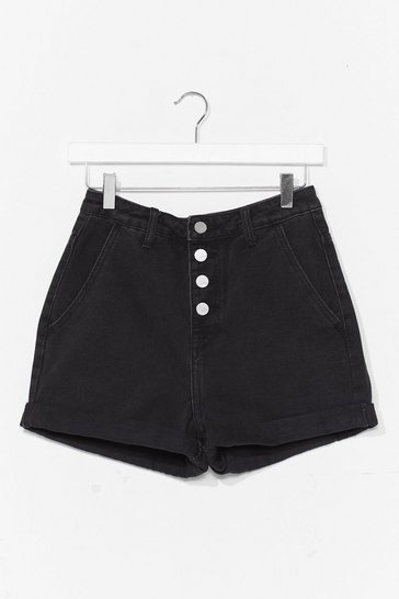 Black Button Up Denim Shorts