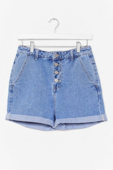 Blue What Does This Button Do Denim Shorts